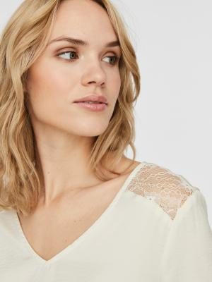 VMSANDRA LACE LS V-NECK TOP WV 222913 Birch