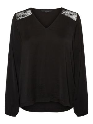 VMSANDRA LACE LS V-NECK TOP WV 177868 Black