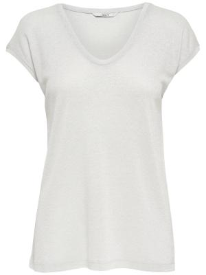 ONLSILVERY S-S V NECK LUREX TO 177931 Silver